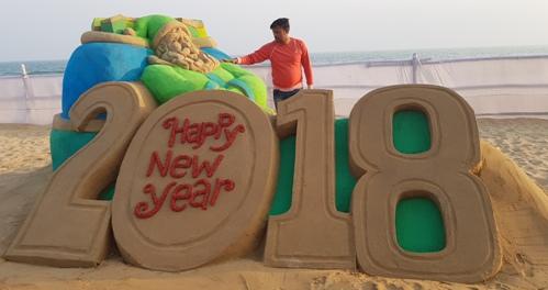 Sand Artist Manas Sahoo Greets 2018