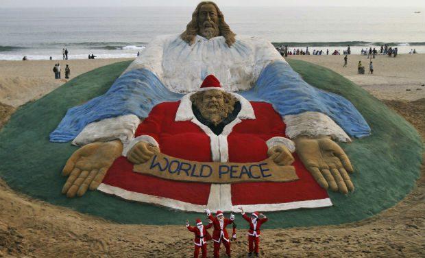 'World's Biggest Santa Clause': Sand Art by Sudarshan Patnaik