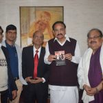 Legendary Odia cine actor Prashanta Nanda presents his books  to vice president  Venkaiah Naidu