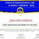 JSPL wins India International CSR Impact Awards – 2020 for Most Innovative Project